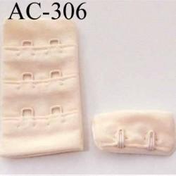 attache rallonge extension de soutien gorge 2 crochets largeur 30 mm couleur perle