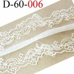 dentelle synthétique avec ruban velour doux couleur écru très jolie largeur 60 mm prix au mètre