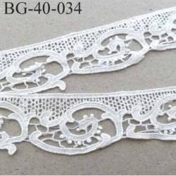 Ruban galon style dentelle coton couleur blanc lumineux largeur 40 mm très joli prix au mètre