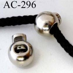 arrêt cordon stop cordon pvc rond couleur chromé  diamètre 18 mm hauteur 22 mm idéal pour cordon de 3 a 6 mm prix à l'unité