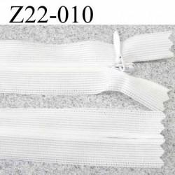 fermeture éclair invisible blanche longueur 22 cm couleur blanc non séparable zip nylon largeur 2,3 cm