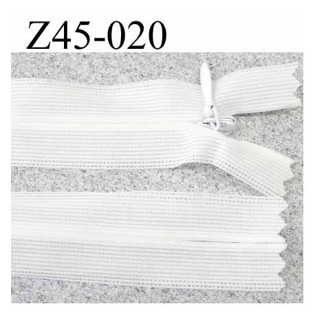 fermeture zip invisible  longueur 45 cm couleur blanc non séparable zip nylon largeur 2.5 cm