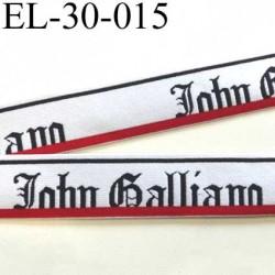 élastique  très très belle qualité du créateur John Galliano couleur blanc noir et rouge superbe largeur 30 mm  prix au mètre