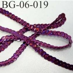 galon ruban sequin magnifique largeur 6 mm couleur violet très brillant prix au mètre