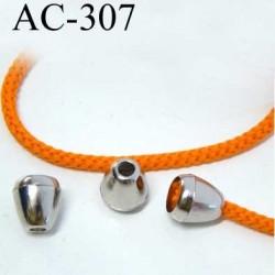 arrêt cordon stop cordon pvc couleur chromé  diamètre 12 mm hauteur 13 mm idéal pour cordon de 3 a 5 mm prix à l'unité