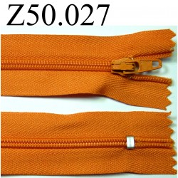 fermeture éclair longueur 50 cm couleur orange non séparable zip nylon largeur 2.5 cm
