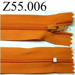 fermeture éclair longueur 55 cm couleur orange non séparable zip nylon largeur 2.5 cm