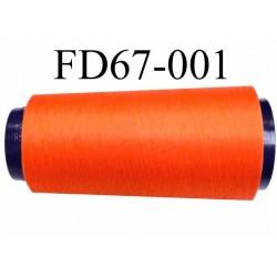 Déstockage Cone de fil mousse  polyester texturé fil n° 165 couleur orange lumineux longueur 2000 mètres bobiné en France