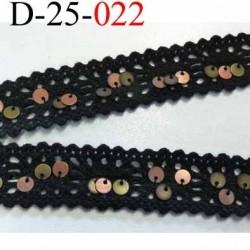 dentelle plusieurs longueurs disponibles crochet ancienne 100 % coton anthracite sequin laiton  largeur 25 mm prix au mètre