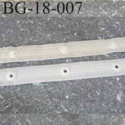 Bande pression bouton agrafe plastique tissu nylon très solide et douce largeur 18 mm couleur naturel prix au mètre