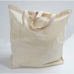 Destockage grand Sac cabas en véritable coton naturel 100 %  superbe à broder ou à coudre  couleur écru souple et doux