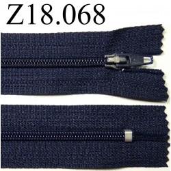 fermeture éclair longueur 18 cm couleur bleu foncé non séparable zip nylon largeur 2.5 cm