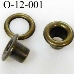 Oeillet  haut de gamme en métal  couleur  laiton  diamètre  extérieur 12 mm intérieur 6  hauteur  6 mm prix à la pièce
