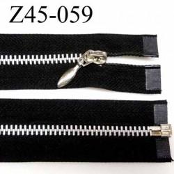 fermeture zip à glissière longueur 45 cm couleur noir  séparable largeur 3.2 cm glissière métal largeur du zip 6 mm