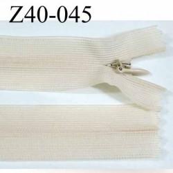 fermeture zip invisible longueur 40 cm couleur beige écru ou crème non séparable largeur 2.5 cm glissière nylon largeur 4 mm