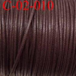 cordon en coton ciré couleur marron brillant superbe diamètre 2 mm prix au mètre