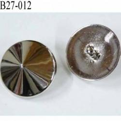 bouton 27 mm pvc forme de pointe diamant brillant chromé accroche un anneau diamètre 27 millimètres