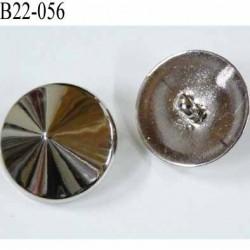 bouton 22 mm pvc forme de pointe diamant brillant chromé accroche un anneau diamètre 22 millimètres