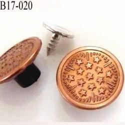 bouton 17 mm pour jeans en métal couleur cuivre lumineux avec le clou 17 -18  millimètre