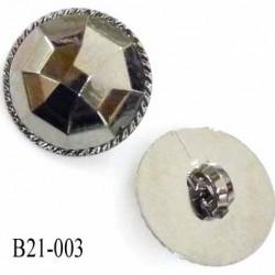 Bouton 21 mm en pvc couleur chromé acier brillant style diamant à facettes diamètre 21 mm accroche avec un anneau