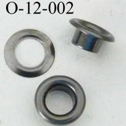 Oeillet en nickel métal couleur acier   diamètre extérieur 12 mm diamètre intérieur 6.5 mm hauteur 5 mm
