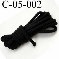 cordon 100 %  en coton couleur noir diamètre 5 mm prix au mètre