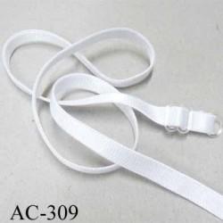 bretelle réglable de soutien gorge  longueur 48 cm largeur 8 mm blanc brillant prix à l'unité boucle anneau transparent