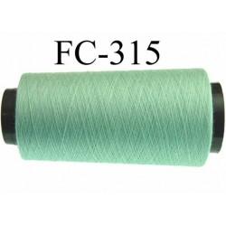 Cone ( Economique ) de fil  polyester  fil n°120 couleur vert  longueur du cone 2000 mètres bobiné en France