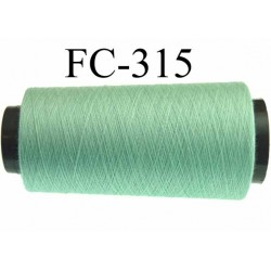 Cone ( Economique ) de fil  polyester  fil n°120 couleur vert  longueur du cone 5000 mètres bobiné en France