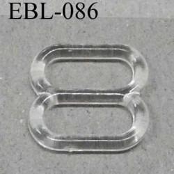 boucle de réglage réglette plastique transparent pour soutien gorge largeur totale 12.5 mm largeur intérieur 10 mm prix l'unité