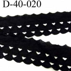 dentelle anglaise galon broderie très jolie 100% coton couleur noir avec des formes de coeurs largeur 40 mm prix au mètre