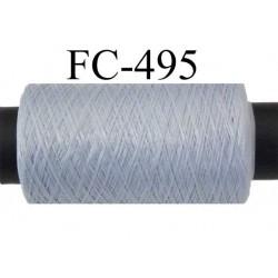 Bobine  de 500 mètres de fil mousse polyamide fil n° 110 / 2 couleur gris souris   bobiné en France