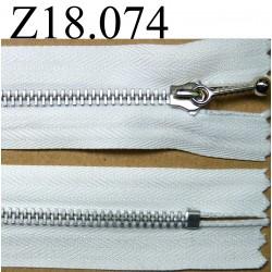 fermeture éclair longueur 18 cm couleur blanc  non séparable zip métal largeur 2.5 cm