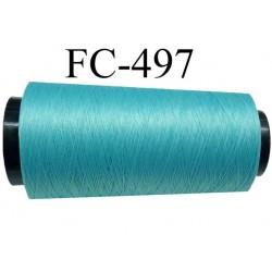 Cone de 5000 mètres de fil mousse polyamide fil n° 110 / 2 couleur vert lagon  bobiné en France