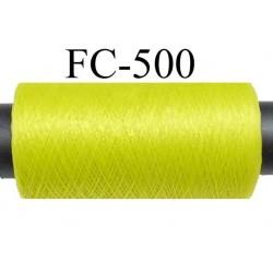Bobine  de 200 mètres de fil mousse polyamide fil n° 110 / 2 couleur vert tirant vers l'anis  bobiné en France