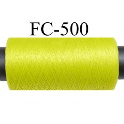 Bobine  de 500 mètres de fil mousse polyamide fil n° 110 / 2 couleur vert tirant vers l'anis  bobiné en France
