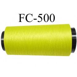Cone  de fil mousse polyamide fil n° 110 / 2 couleur vert tirant vers l'anis longueur du cone 2000 mètres  bobiné en France