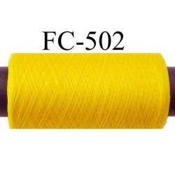 Bobine de fil mousse polyamide fil n° 180 couleur jaune  longueur 200 mètres bobiné en France
