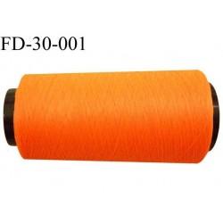 Destockage Cone de fil polyester texturé fil n° 167 couleur orange tirant sur le fluo longueur 2000 mètres bobiné en France