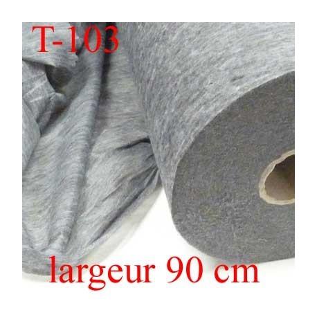 tissus Entoilage moyen thermocollant  gris largeur 90 cm prix au mètre