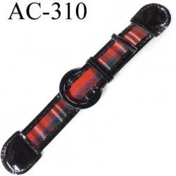 brandebourg simili cuir couleur noir et rouge boucle plastique et  métal longueur 20 cm prix à l'unité composé des 2 éléments