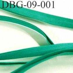 biais plié largeur 9 mm  plus 9 mm plié en deux avec 2 rebords plié de 4 mm largeur total déplié 26 mm  vert 100 % coton