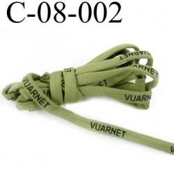 cordon plat  épais 3 mm  largeur 8 mm très très solide incassable à la main coton et polyamide couleur vert prix au mètre
