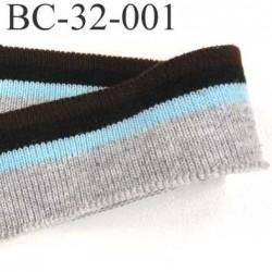 Bord côte jersey synthétique largeur 32 mm longueur 1 mètre couleur marron noir bleu et gris prix au mètre