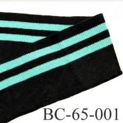 Bord côte 65 mm jersey synthétique largeur 65 mm longueur 1.20 mètre couleur noir et vert lagon prix au mètre