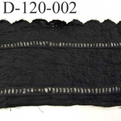 Destockage dentelle broderie anglaise attention très froissé à repasser  motif fleurs 100 % coton noir 120 mm prix au mètre