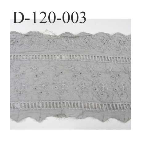 Destockage dentelle broderie anglaise attention très froissé à repasser  motif fleurs 100 % coton gris 120 mm prix au mètre
