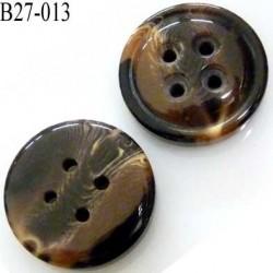 bouton 27 mm en pvc 4 trous couleur marron et beige marbré superbe assez épais épaisseur 8 mm diamètre 27 millimètres
