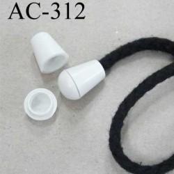 arrêt stop cordon avec embout bouchon pvc couleur blanc cassé pour cordon de 5 mm  ou moins de diamètre prix à l'unité
