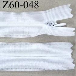 fermeture zip à glissière invisible blanche longueur 60 cm largeur 2.5 cm couleur blanc non séparable largeur de glissière 4 mm